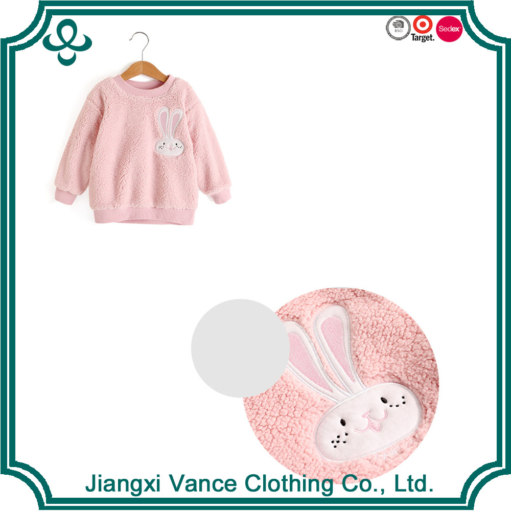 High quality european kids clothes cotton flannel clothes pink color children comfortable kids clothes with cute rabbit