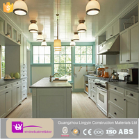 hot selling modern shaker style high gloss kitchen cabinet with island design