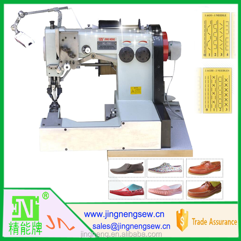 leather pattern moccasin shoes stitching machine