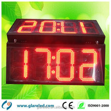 Outdoor Led Time Sign Digital Clock Display Red Color Double-Sided Digital Led Massage Clock