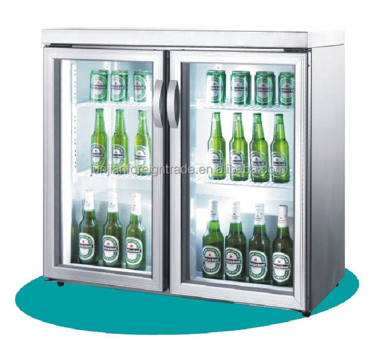 guangzhou OEM factory bar equipment double door desk-top glass door mini refrigerator bar fridge for beer and soft drinks