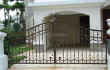 Driveway steel sliding fence gate