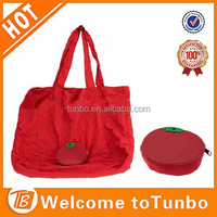 Foldable polyester shopping bag tomato shape shopping bag for wholesale