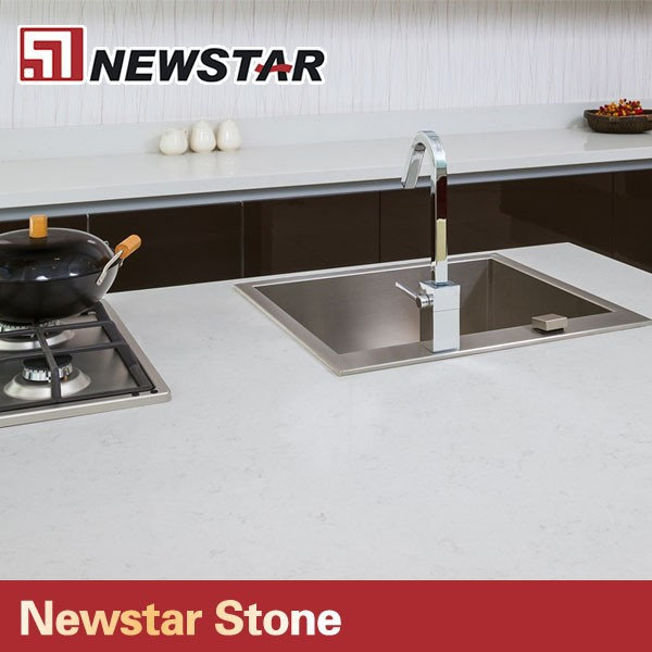 Newstar polished flat white composite quartz countertop