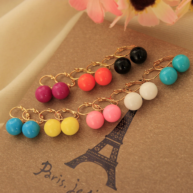 Fashion Cute Candy Color Imitation Pearl Round Ball Stud Earrings for Women Piercing Imitation Pearl Jewelry