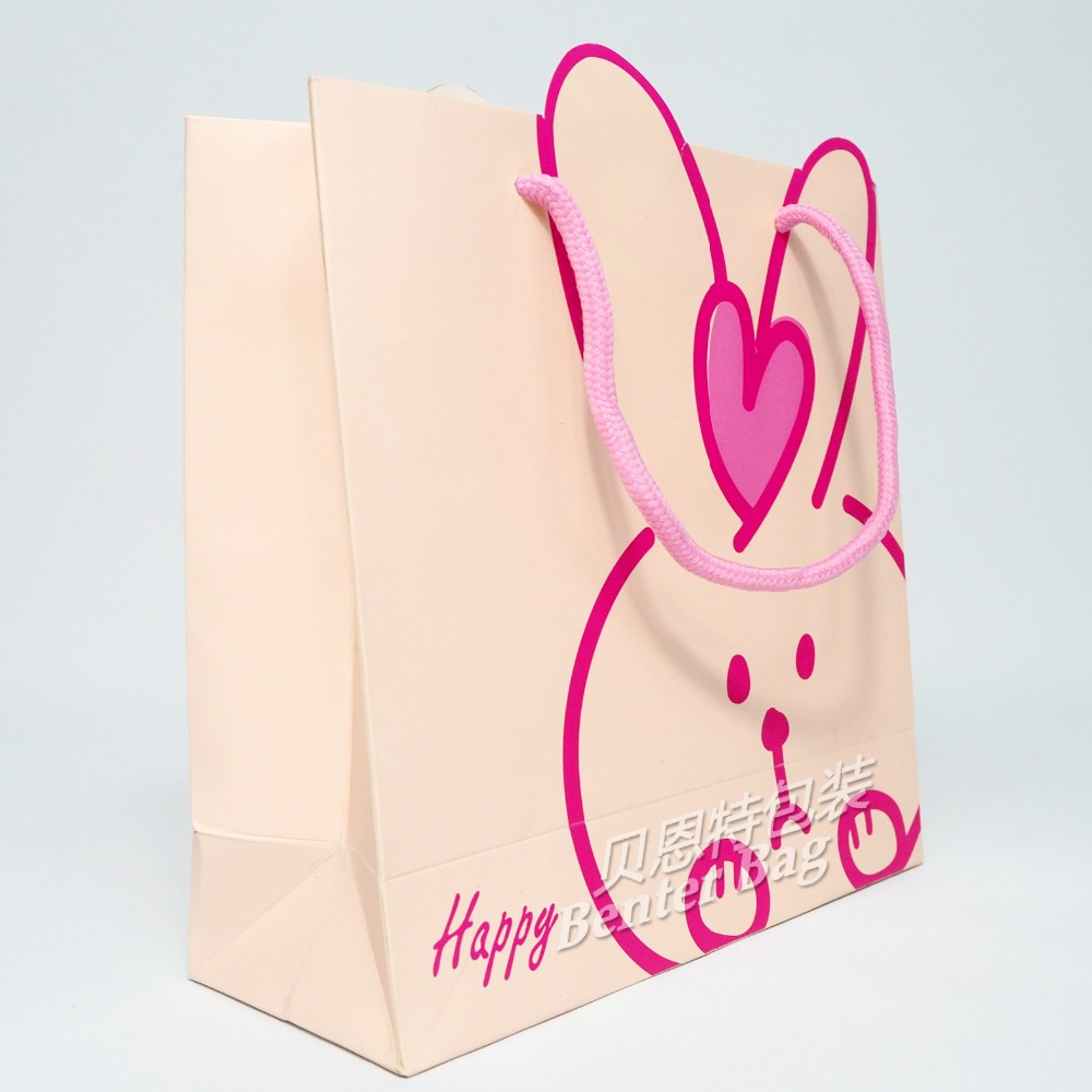 Wholesale recyclable pink rabbit custom promo bags promotional funny paper gift bags china suppliers