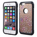 hot selling case TPU stick leather case with diamond combo cover case For iPhone6 4.7