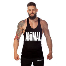 Onsale Men Gym Fitness Tank Tops stringer cotton animal artwork