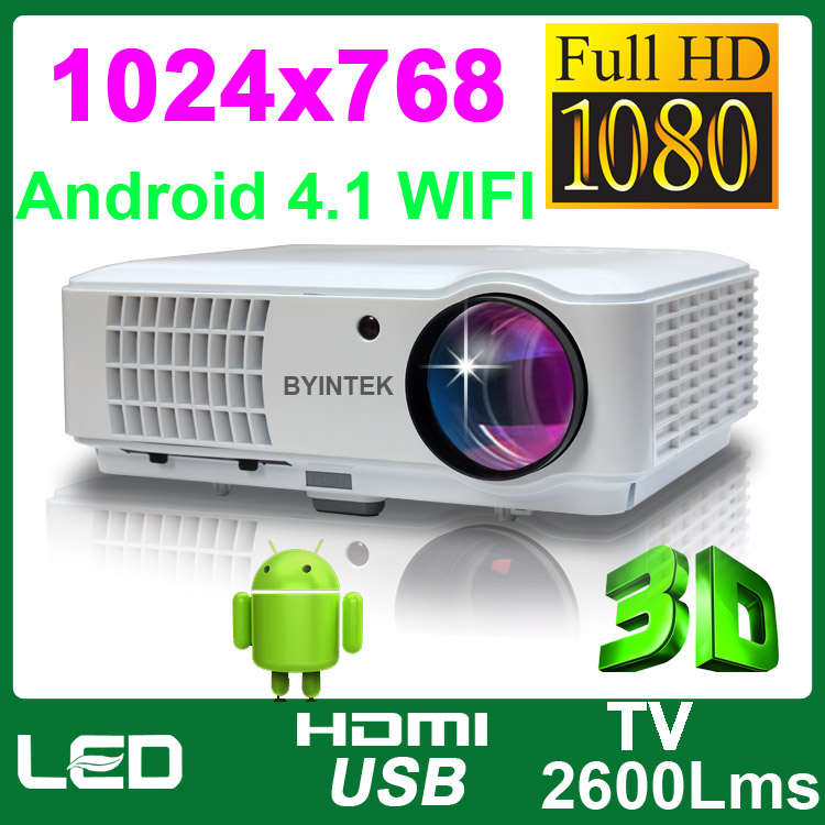 Android OS Wifi 1024x768 3D Video LCD LED HD Proyector Game Projector 1080P For Home Theater Office Blu Ray Xbox Wii PS3