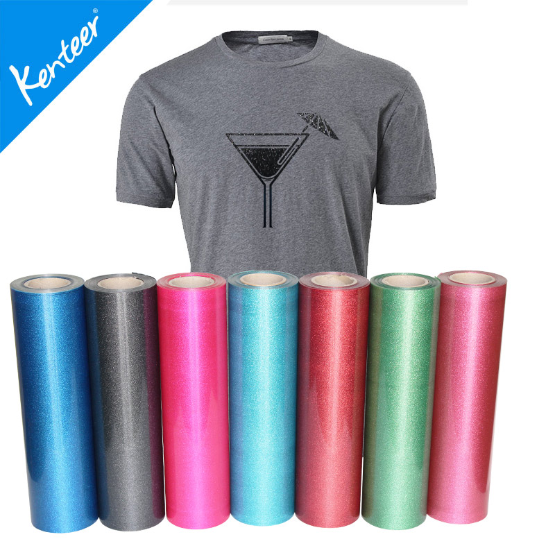 Kenteer flakes Glitter heat Transfer vinyl for fashion clothing