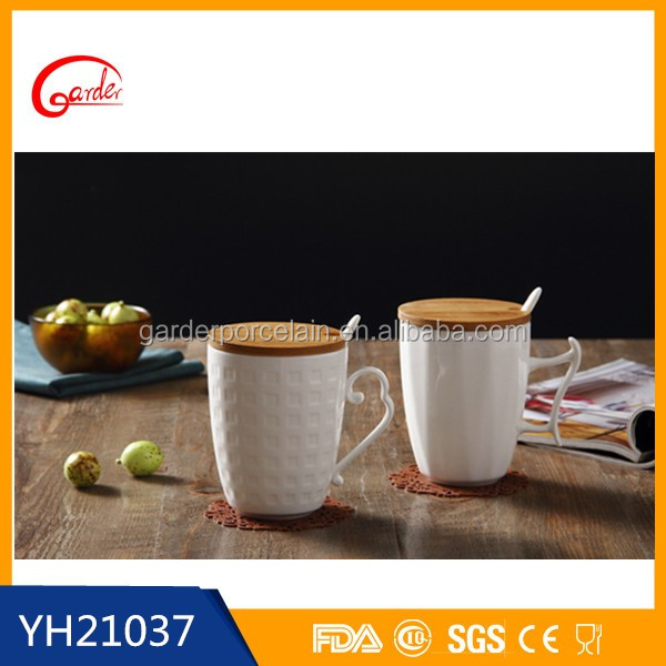 Wholesale white ceramic coffee mug with cover