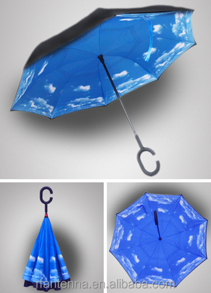 Windproof Reverse Umbrella Double Layer upside down folding Umbrella with free-hand C-shaped