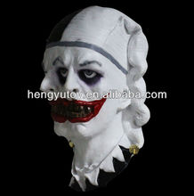 Hot-selling Adult Full Head Funny Clown Mask Carnival Halloween scary Latex Double-faced Jester Mask