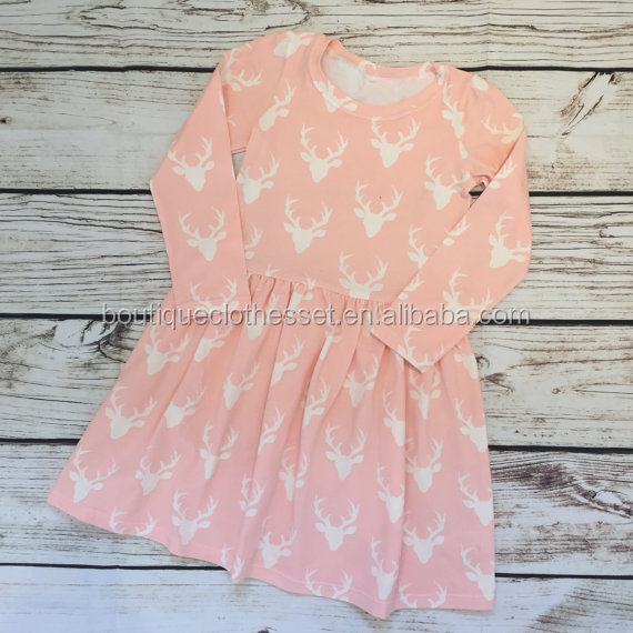 Winter Stag Deer Print Frocks Scandi Clothes Christmas Day Dress Pink Deer Head Dress