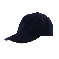 High quality promotional no logo Black woolen 6 Panel Baseball Cap Hats