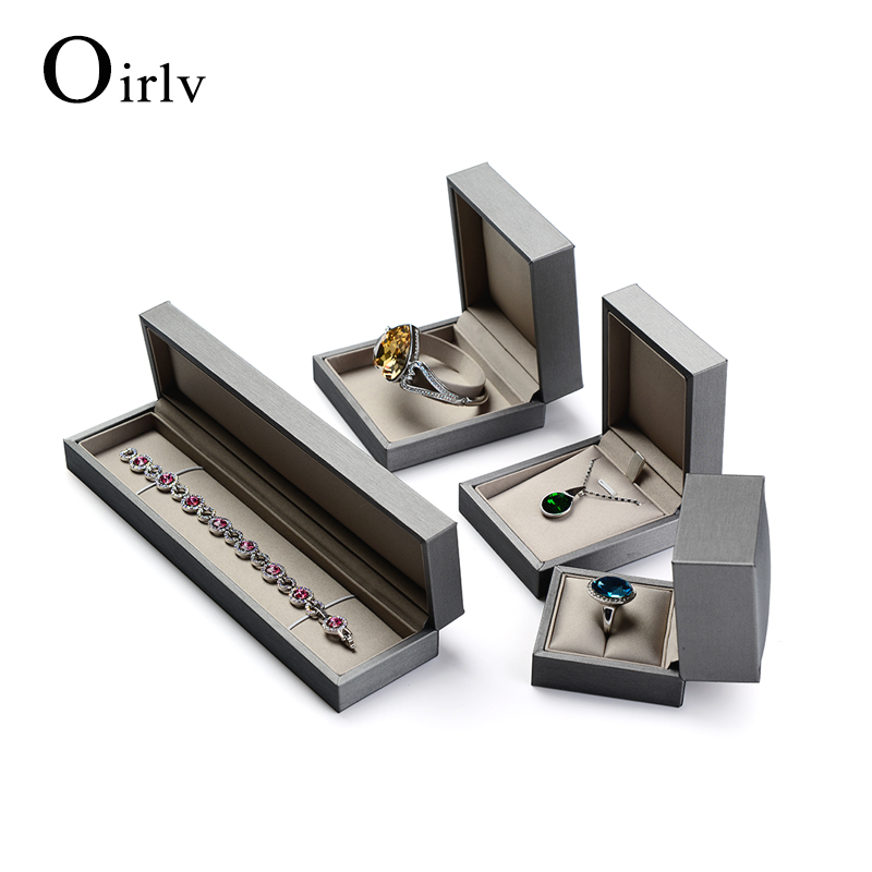 Oirlv OEM Gray Jewellery Gift Boxes For Ring Bracelet Bangle Necklace Packaging PU Leather Custom Jewelry Box