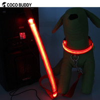 Red color USB charge rechargeable led flashing pet dog leashes and collars on sale