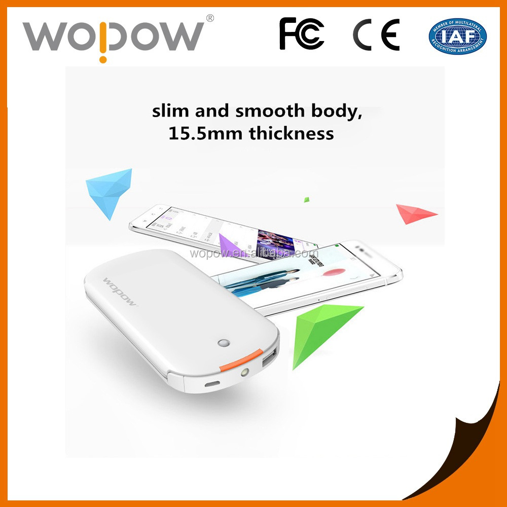 Wopow hidden cable power 8000mah emergency mobile charger for cell phone