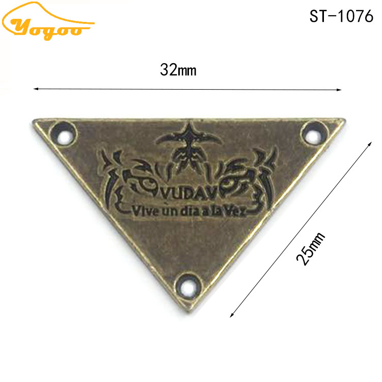 Triangle Oil Painted Black Enamel Logo Engraving Antique Brass Metal Sewing Tag