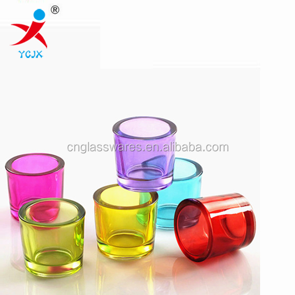 Colored small glass candle jar