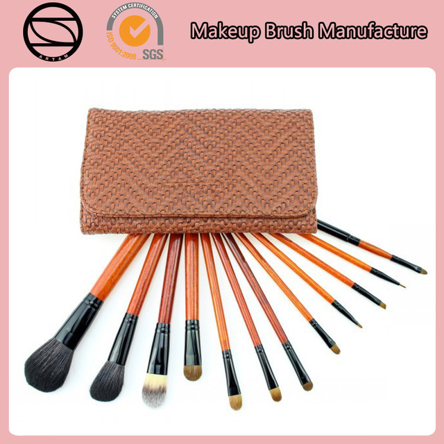 12pcs Braided lines top sale brown goat hair professional makeup brush set