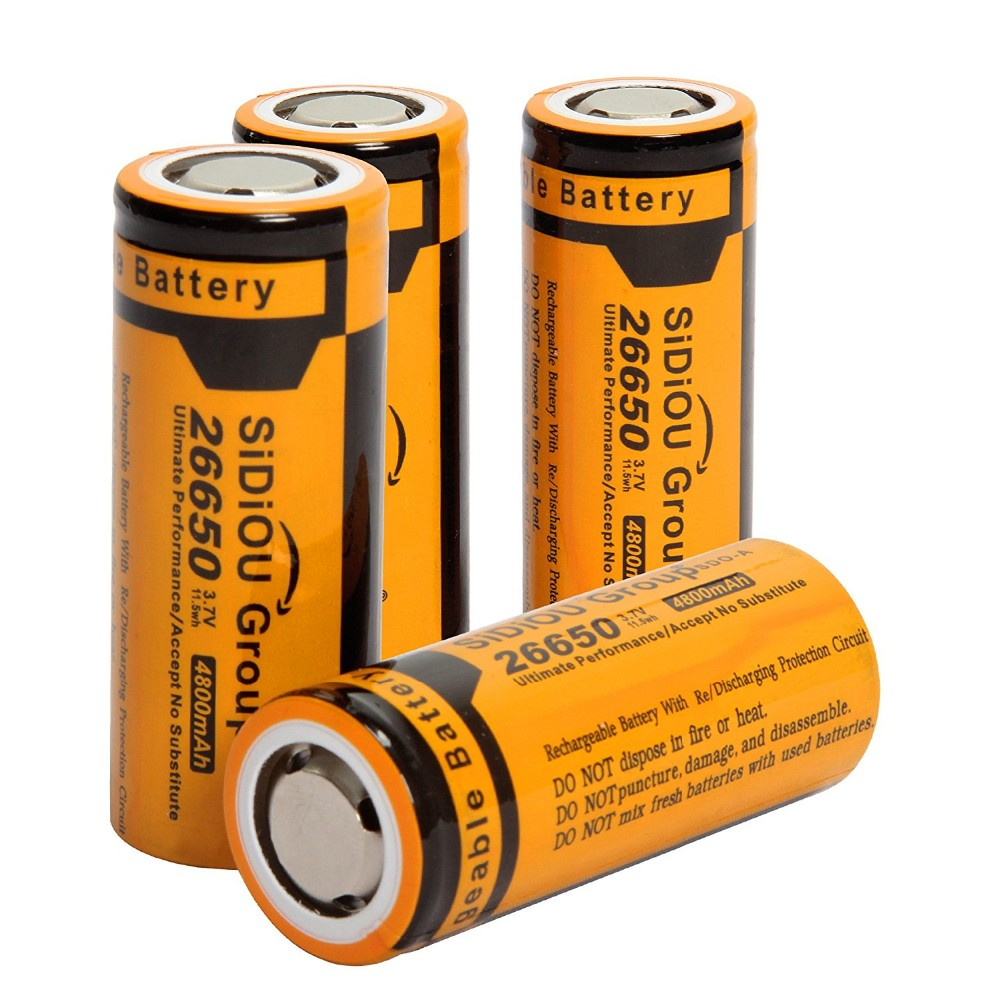 Sidiou Group Powerful 26650 Lithium Ion Battery 3.7V 4800mAh Rechargeable Battery for LED flashlight (A Set of 2 Pieces)