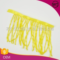 Wholesale 10cm width yellow ribbon glass tube beads bullion fringe