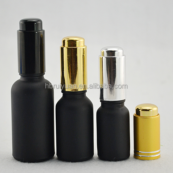 Matte Black/ Glossy black essential oil glass bottle GOLD push button dropper