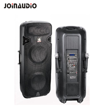 "Double 15"" Plastic Portable PA speaker build-in Battery Trolley speaker"