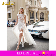 Bateau Neckline Cap Sleeve See Through Ope Leg Sexy Wedding Dress For Mature Bride