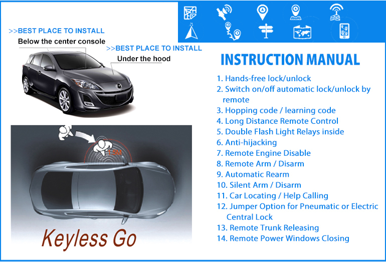Handfree lock/unlock keyless go with alarm functions passive keyless entry system car alarms for sale