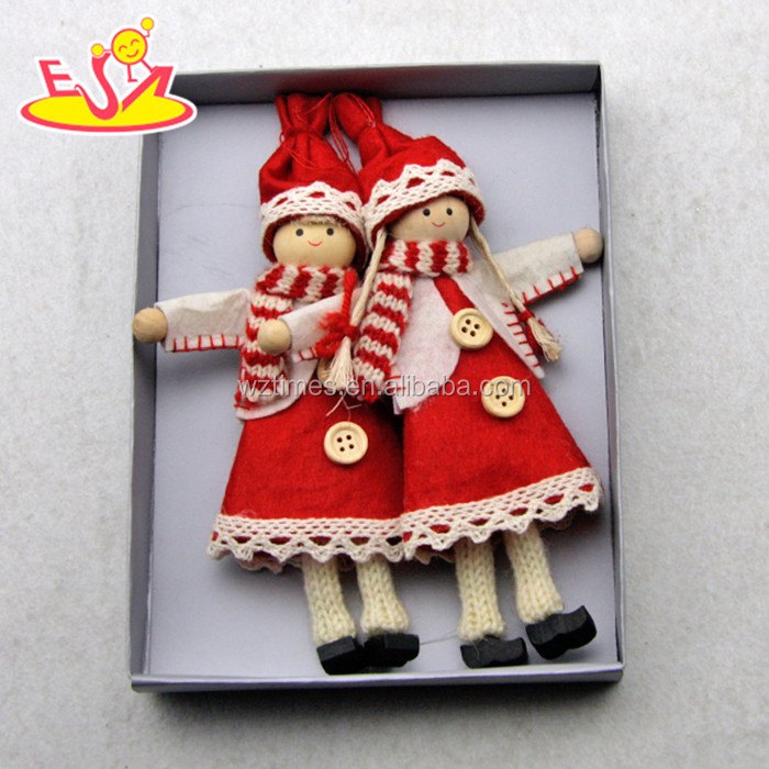 2017 New products lovely characters wooden Christmas figurines W02A228