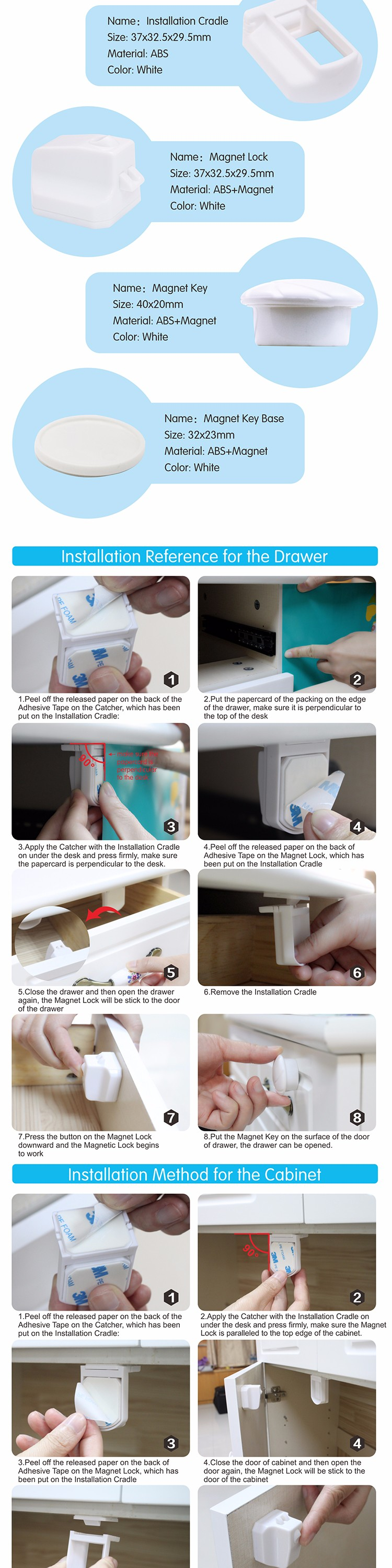 child proof easy install safety baby magnetic cabinet locks
