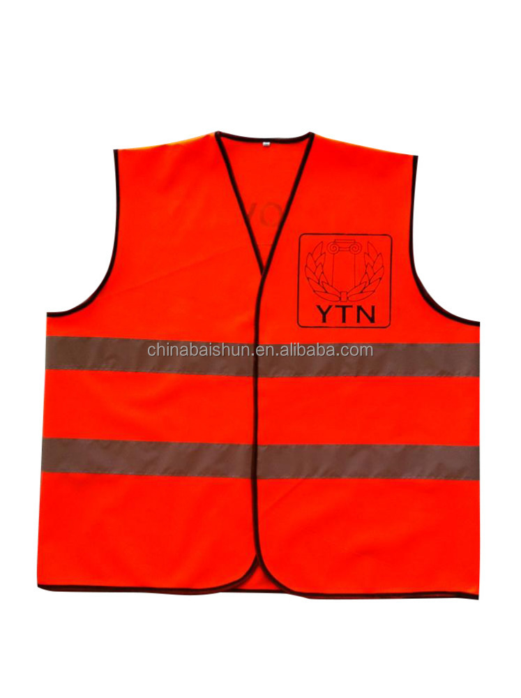 100% polyester fluorescent yellow orange Roadway Reflective Safety Breathable Vest