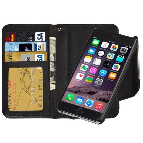 2 in 1 Separable Wallet Style Magnetic Flip PU Leather Case with Lanyard for iPhone 6