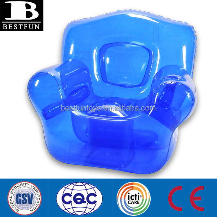 high quality PVC sofa inflatable transparent outdoor chair blue single relax sofa