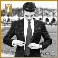 2016 Designer Custom Made Slim Fit Black Checked Men Dress Suits