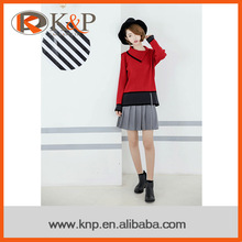 Ribs design long sleeve envelope neck knit sweater for young girls