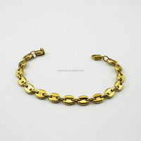 Wholesale Fashion Women Plated Imitation Gold Bracelet with Oval Charms Link Chain Jewelry
