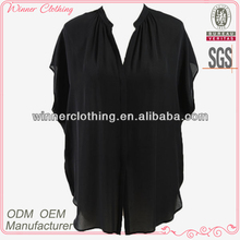 Ladies' fashion short sleeves polyester chiffon high quality and best price women latest blouse material