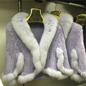 wholesale mink fur coat mink fur knitted shawl for woman