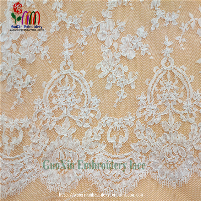 2017 embroidery lace fabric white bridal lace with cordings
