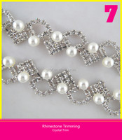 Rhinestone Strass Trimming Shinning Crystal Special Design Chain Round Pearl Setting Bridal Jewellery Trimming