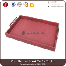 High quality fashion luxury customized designer food faux leather serving tray