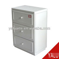 paulownia wood storage cabinet and MDF board with 3 drawers in white painting