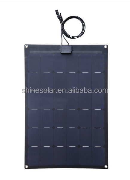 ETFE 80W 12V Black Fiberglass Semi-Flexible Monocrystalline Solar Panel for 12V Charge Battery on Boats, Caravans, Motorhomes