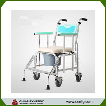 Metal commode chair with bedpan for old people