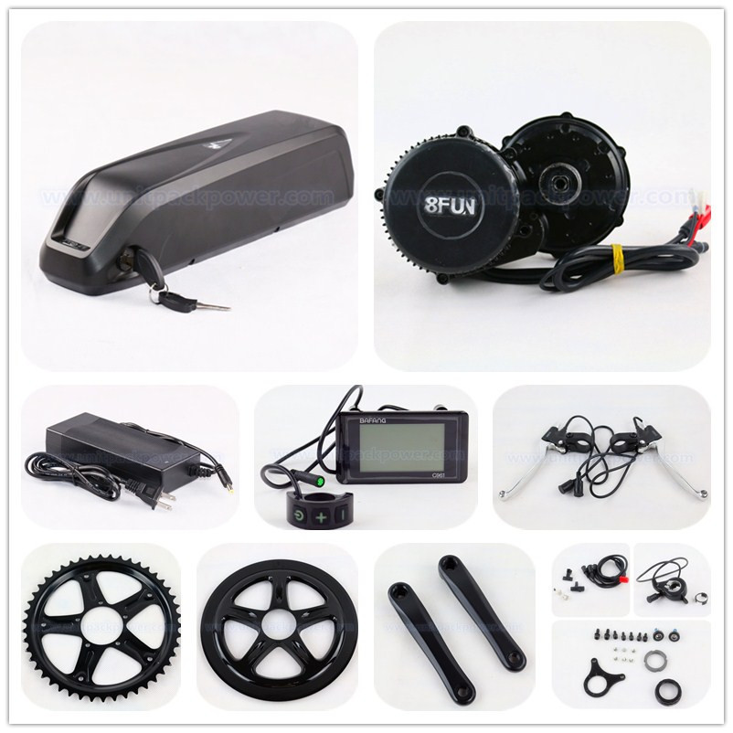48V 750W BBS02 8fun / Bafang mid crank drive motor ebike kit with 48v 11.6ah down tube lithium ion battery