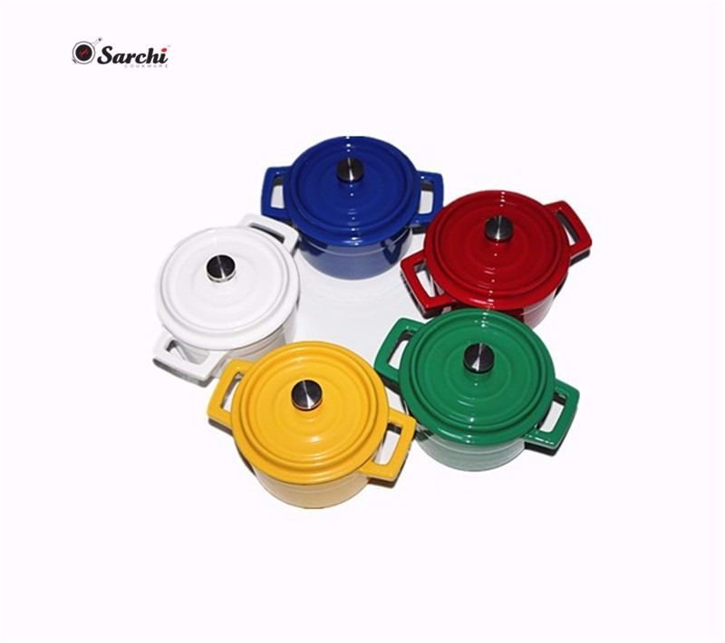Customized round enameled mini cast iron cookware with lid