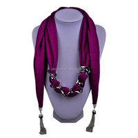 Plain purple polyester lady fashion pendant jewelry scarves